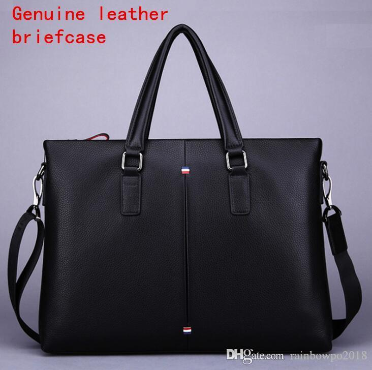 Factory own brand men bag simple soft leather men portable shoulder bag the first layer of leather Korean business briefcase large-capacity