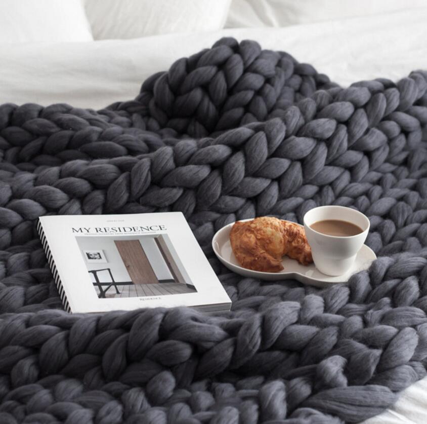 Tricoter Jeter Couvertures Fil couverture tricotée chaud Chunky tricoté à la main en tricot à bas Couverture en laine mérinos doux épais Bulky Sofa Throw