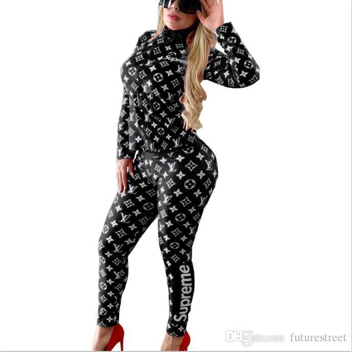 Camisa corta las mujeres chándal diseñador de 2 pedazos malla de paneles + Pantalones otoño invierno sudaderas casuales de manga larga mosaico + polainas F1511
