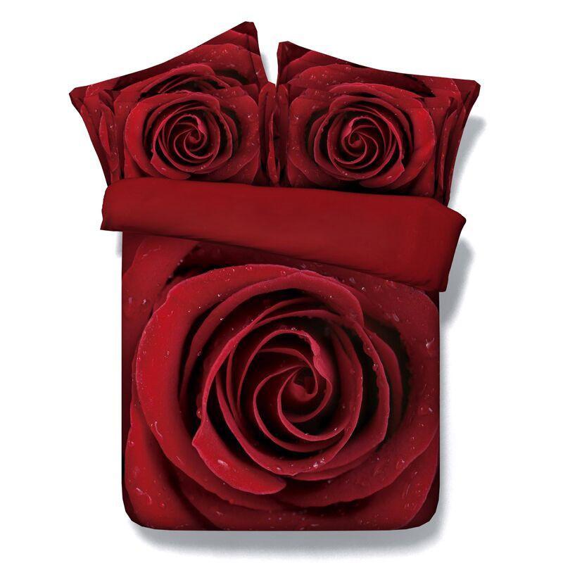 3PCS 3D 빨간색 꽃 꽃 침대 더 충전 이불 커버를 설정하지 상승 colcha CAMA CASAL edredones 이불 커버 세트