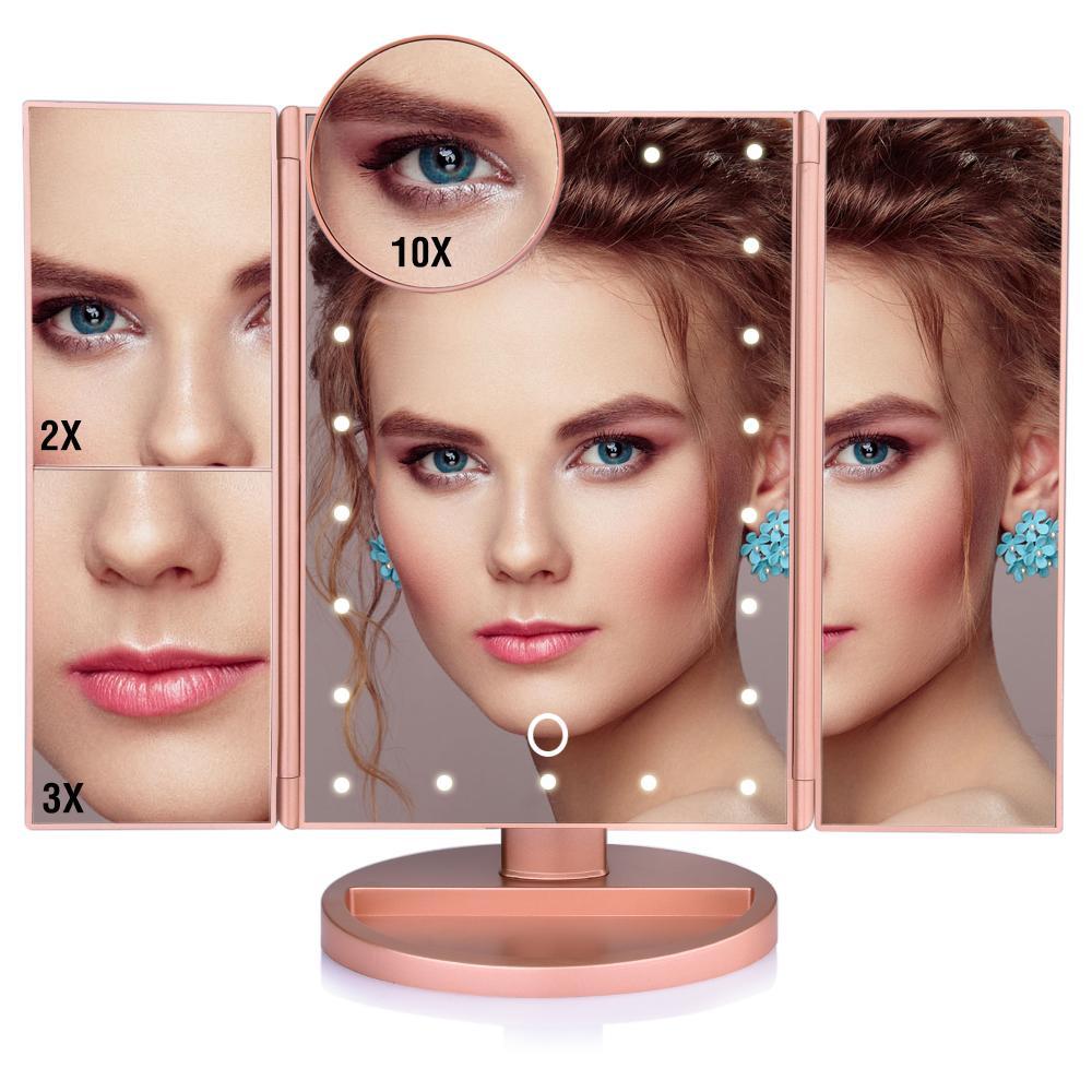 Écran tactile 22 lumières LED miroir de maquillage Maquillage 3 Tabletop pliant Miroir 1X / 2X / 3x / 10X Loupe cosmétique Miroirs cadeau