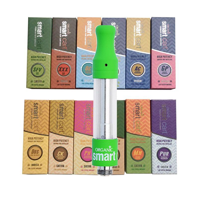 Smart Carts Green Vape Cartridges 1.0ml Serbatoio di vetro 510 Ceramic Coil Thick Oil atomizzatore Vaporizzatore Smartcarts Ecig DHL