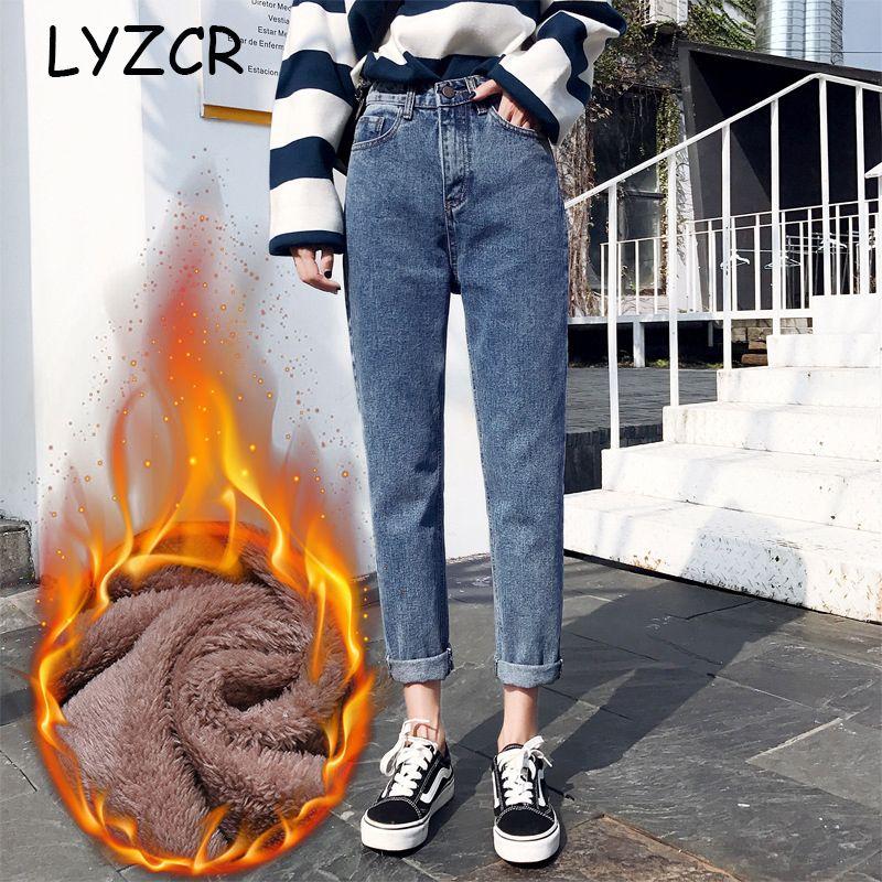Vintage Boyfriends Harem Winter-Jeans Frauen 2019 Loose Women High Waist Velvet Jeans-Hose Fleece Warm Mujer Cotton