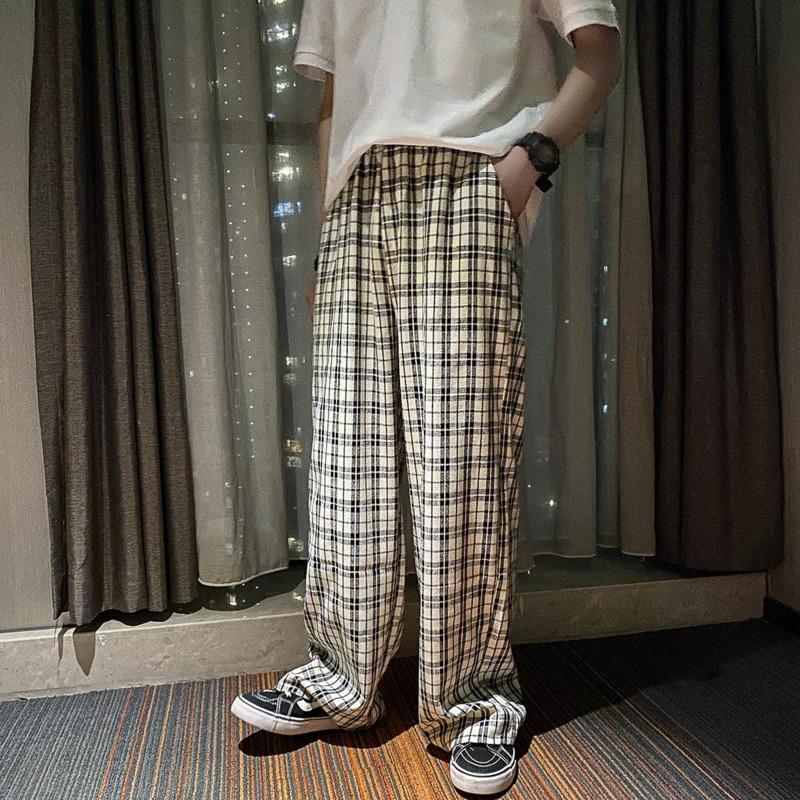 Coreano Pantaloni Plaid moda maschile Hit colori Retro uomini pantaloni casual Streetwear selvaggio allentato coulisse Etero Pantaloni Mens S-3XL