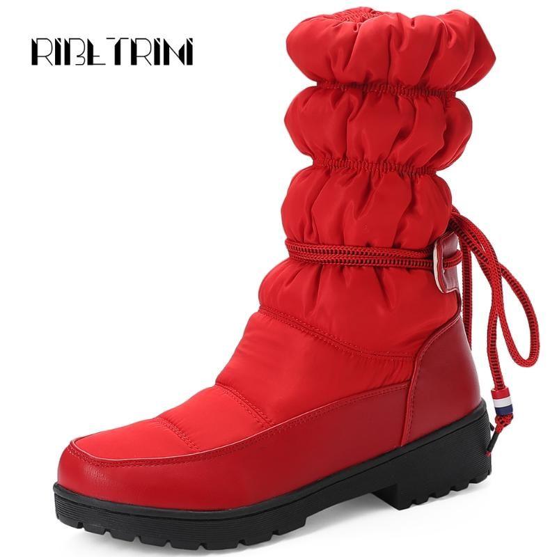 RIBETRINI señora de la manera plisado snowboots gruesa piel de mariposa nudo invierno Botas Mujeres 2020 Casual punta redonda zapatos mujer