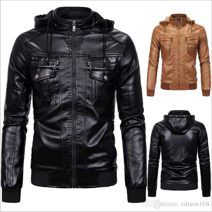 S-3XL Winter Warm Men Slim Standing Collar Leather Hoodie Jacket Man Coat With Cap Overcoat High Quality Black Yellow 1603