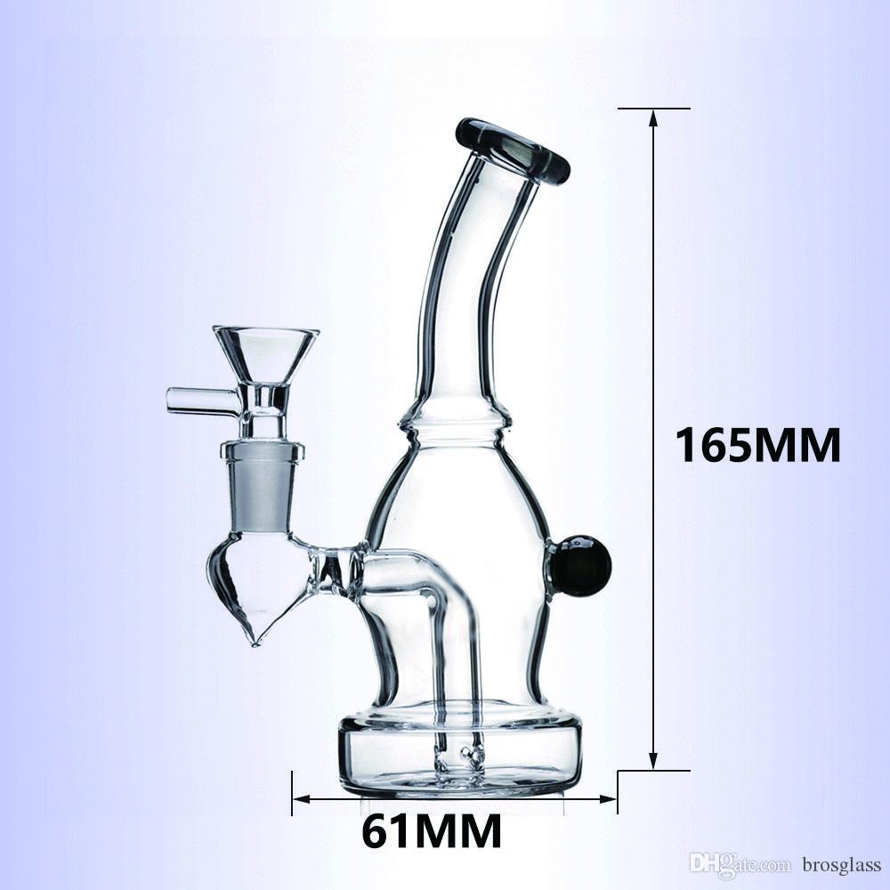 6 pollici Glass Bong Con ciotola di vetro Mini Color Glass Dab dell'impianto offshore rig Tubi Perc Heady fumatori Bubbler quarzo Banger
