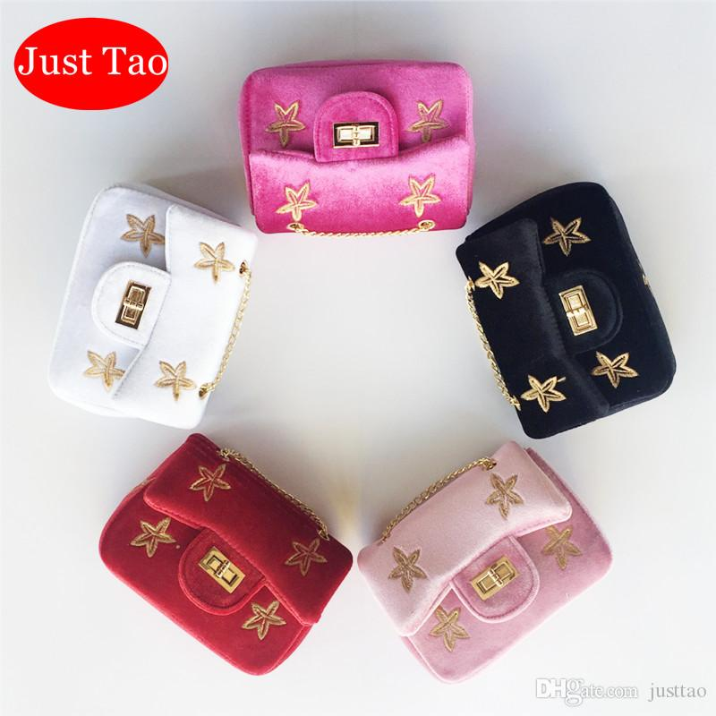 Just Tao! Sale Promotion Twinkle shoulder bags Kids Small Velvet messenger Bags Toddlers Small Coin purse baby's wallets JT029