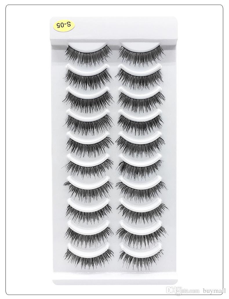 Reusable fake eyelashes 10 pairs set synthetic hair pure handmade thick false eyelash natural long 5 styles available full strip DHL Free