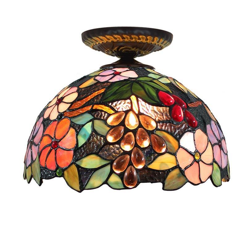 Tiffany Style Flush Mount Pleacing Light da 12 pollici European Pastoral Votal Art Deco Instrumenti di vetro macchiato TF047