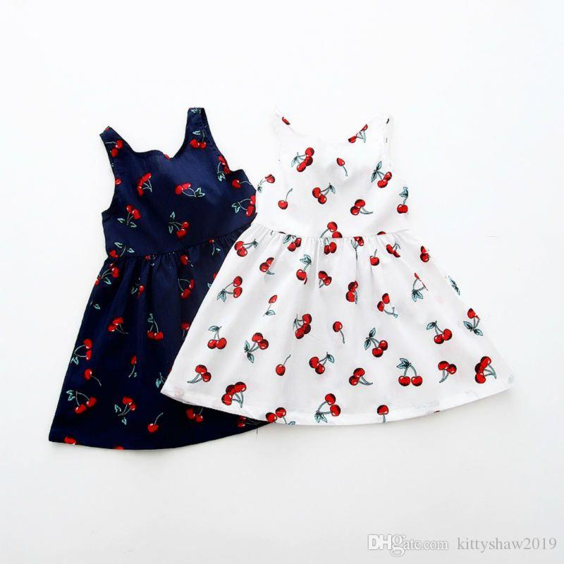 Wholesale Summer Girl Dress Children Cotton Sleeveless Dresses Cherry Print Kids Dress for Girls Fashion Girls Clothing
