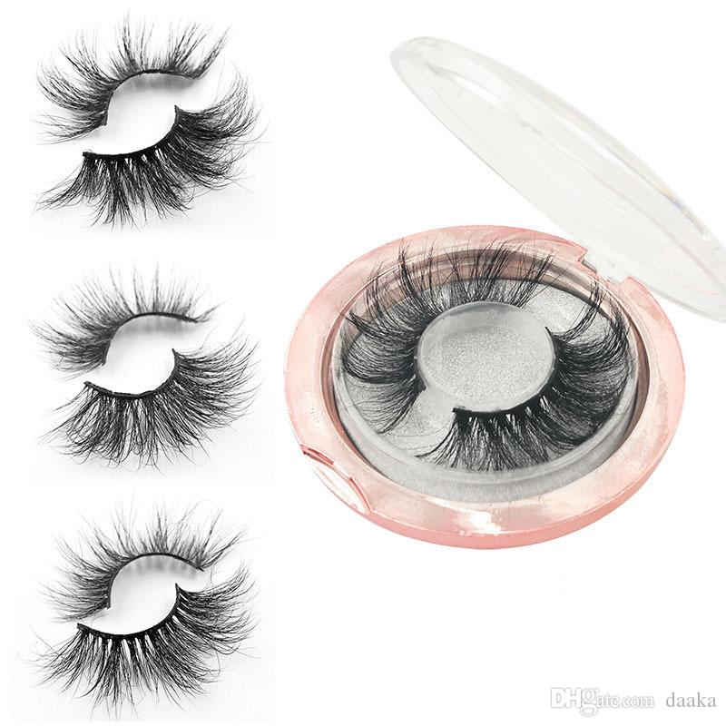 Heißer Verkaufs-Private Label 25mm 5D Thick Eye Lashes Mink Wimpern mit Rosa Runde Wimper Kasten-Kasten-Verpackung