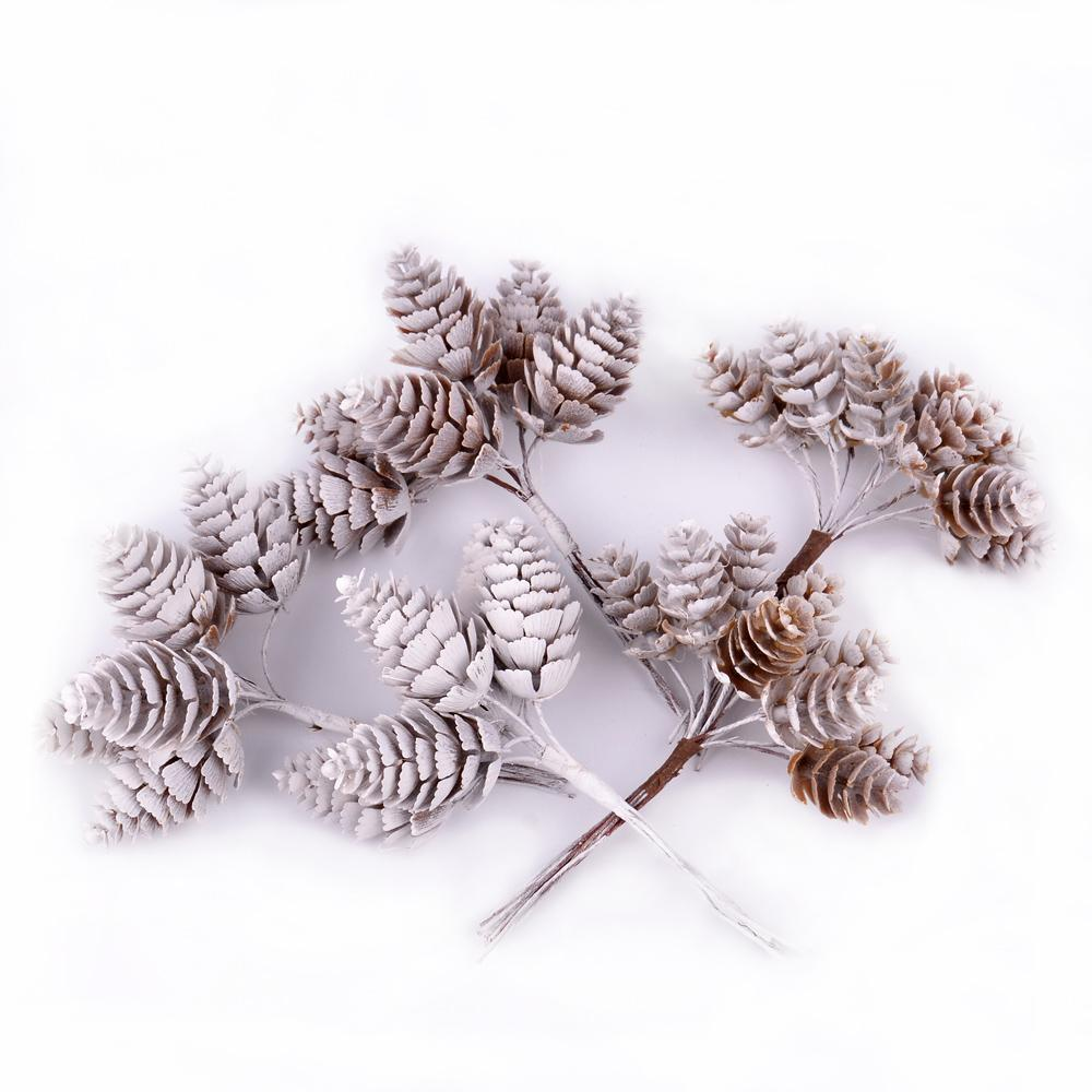 Pine Cone 6-10pcs flor artificial piña césped artificial boda de Navidad la decoración del hogar del libro de recuerdos caja de regalo