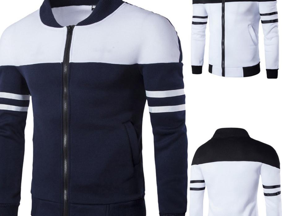 Männer im Freien beiläufigen Reißverschlussjacke Top Mode für Männer Herbst-Winter-Sport Patchwork-Jacke Langarm Mantel große Größe 2018