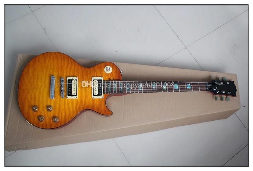 화염 메이플 베니어, 탁 마츠모토 서명, 고정 다리 공장 새 사용자 정의 꿀 버스트 몸 일렉트릭 기타는 사용자 정의 할 수 있습니다
