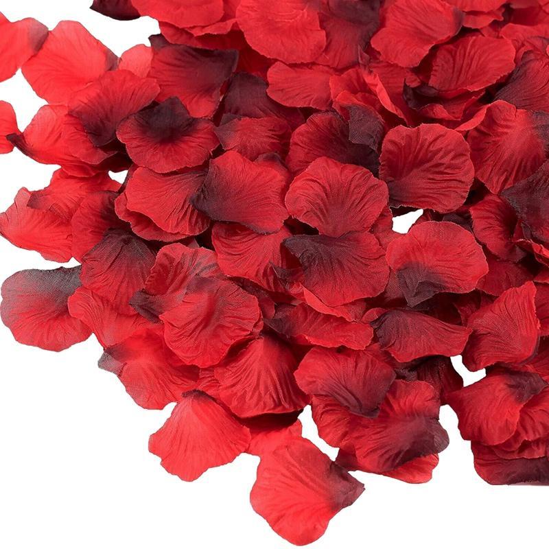 발렌타인 데이 웨딩 꽃 장식을위한 최저 7000 조각 어두운 빨간색 실크 장미 꽃잎 인공 꽃 꽃잎