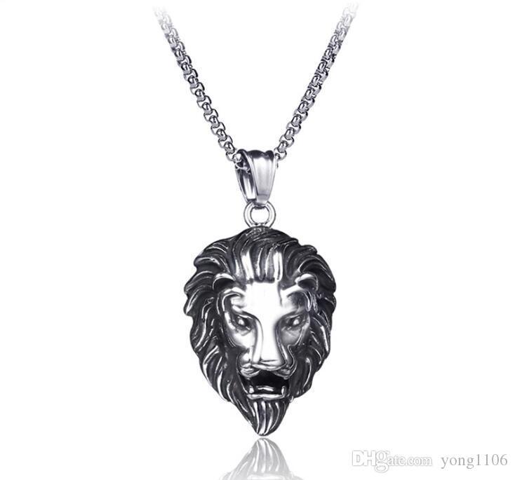 Collar pendiente de la joyería de la vendimia de acero inoxidable de la personalidad león joyería pendiente del collar de lujo de hip-hop del diseñador de moda de los hombres de la calle