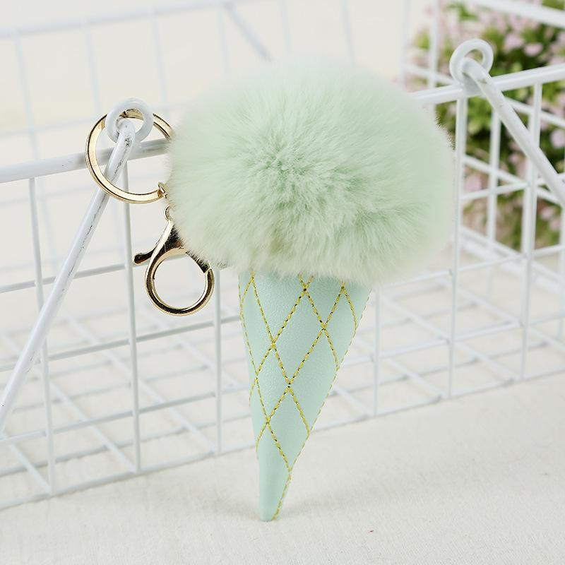 Ice Cream Pompom Ball Keychain PU Carabiner Key Chain Keyring Women Kids Key Holder Bag Pendant key Ring Favor RRA2898