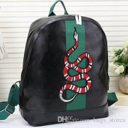 Erkek Kadın Lüks çantaları için Moda Yılan Sırt Çantası Deri Fermuarlar Klasik Arı Erkekler Kadınlar Çanta Marka Tasarımcı Siyah Mavi Brown g581