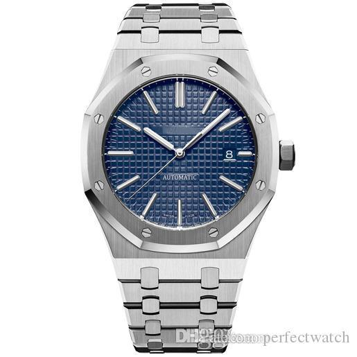 2019 venta caliente 42 mm movimiento automático para hombre relojes cubierta transparente completo de acero inoxidable hombre luminoso negocios para hombre reloj Shippin