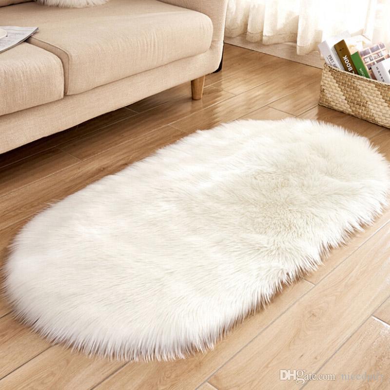 Super Macio Faux Fur Falso Pele De Carneiro Branco Sofá Cadeiras Fezes Casper Vanity Capa de Almofada Rug / Sólida Shaggy Tapetes de Área para Sala de estar Andar