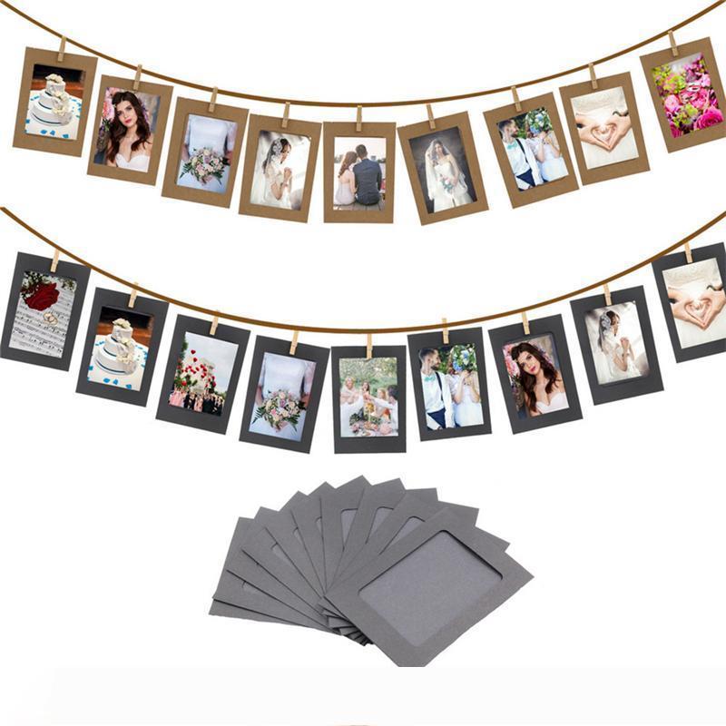 10 قطعة الجمع بين الإطار ورقة مع كليب و2.2M حبل 6 بوصة جدار إطار الصورة DIY المعلقة ألبوم صور الديكور المنزلي