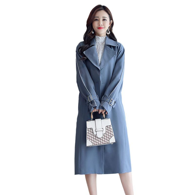Trench Coat for Women 2019 Spring/Autumn New Casual Slim Double Breasted Coat Windbreaker Female With Belt Pocket Outerwear R116