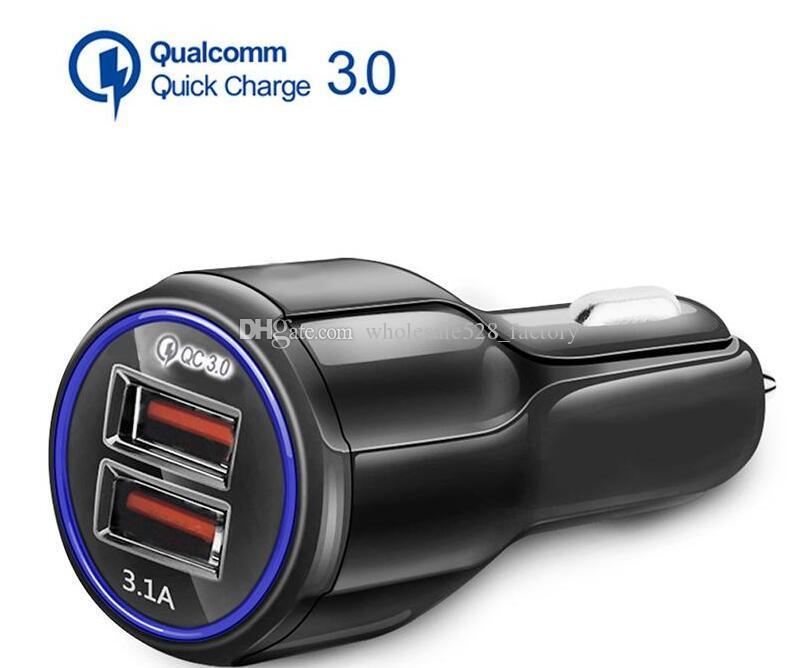차량용 충전기 QC3.0 빠른 충전기 듀얼 삼성 삼성 화웨이 태블릿 2 USB 포트 빠른 자동차 충전기 CE FCC ROHS 인증