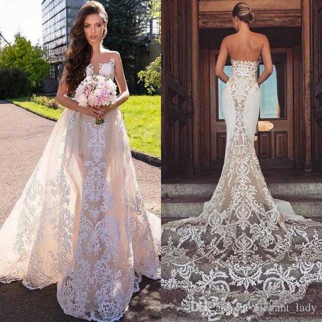 Sheer Jewel Neck Sereia Vestidos de Noiva com trem destacável 2019 modesto laço applique backless jardim praia vestido de casamento nupcial