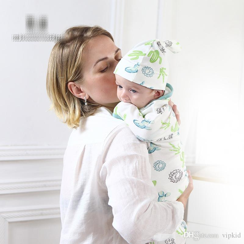 14 Style Newborn Swaddle Wrap+Hat Cotton Baby Receiving Blanket Bedding Cartoon Cute Infant Sleeping Bag For 0-6 Months B1
