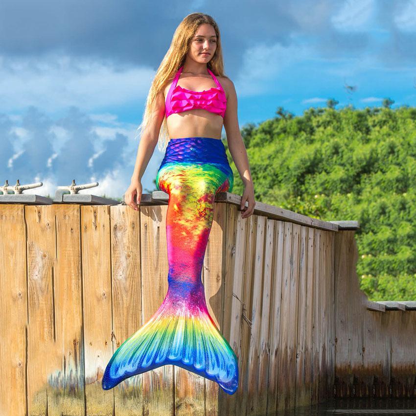 النساء حورية البحر الذيول للكبار سباحة بنات سويمابل تأثيري حلي الاستحمام شاطئ السباحة الصيف ملابس الذيول الملابس