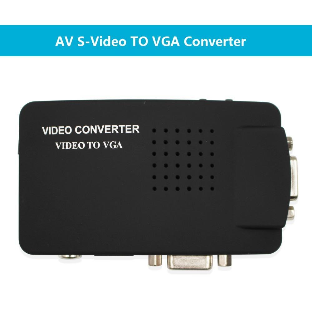 كابلات VGA Wiistar RCA CVBS المركب S-فيديو AV في لVGA خارج المحول محول عالية الدقة لشاشات أجهزة الكمبيوتر المحمول الأسود