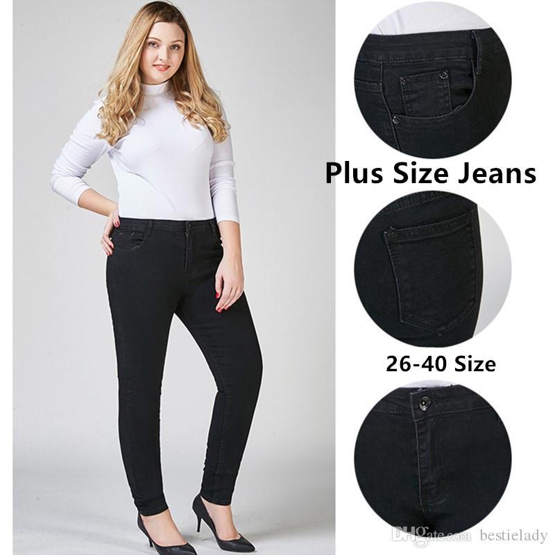 Женские джинсы большого размера с высокой талией и высокой талией Джинсы скинни большого размера 6 стилей Большой размер Леди Синий Черный Классический облегающий брюки с высокой посадкой 26-40