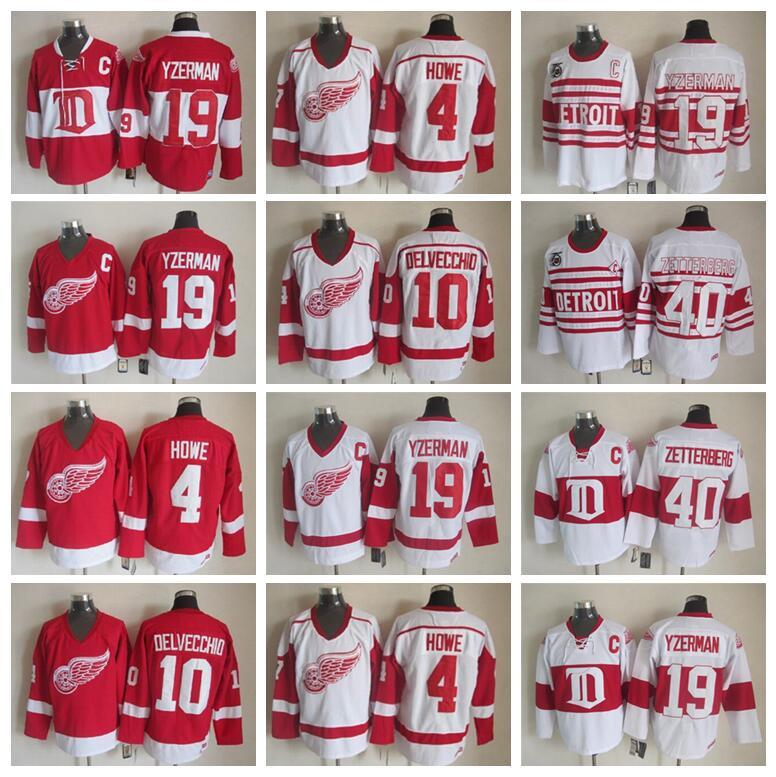CCM Detroit Red Wings 19 Steve Yzerman Trikot 40 Henrik Zetterberg 4 Gordie Howe 10 Alex Delvecchio Vintage Klassiker 75th Hockey Red White