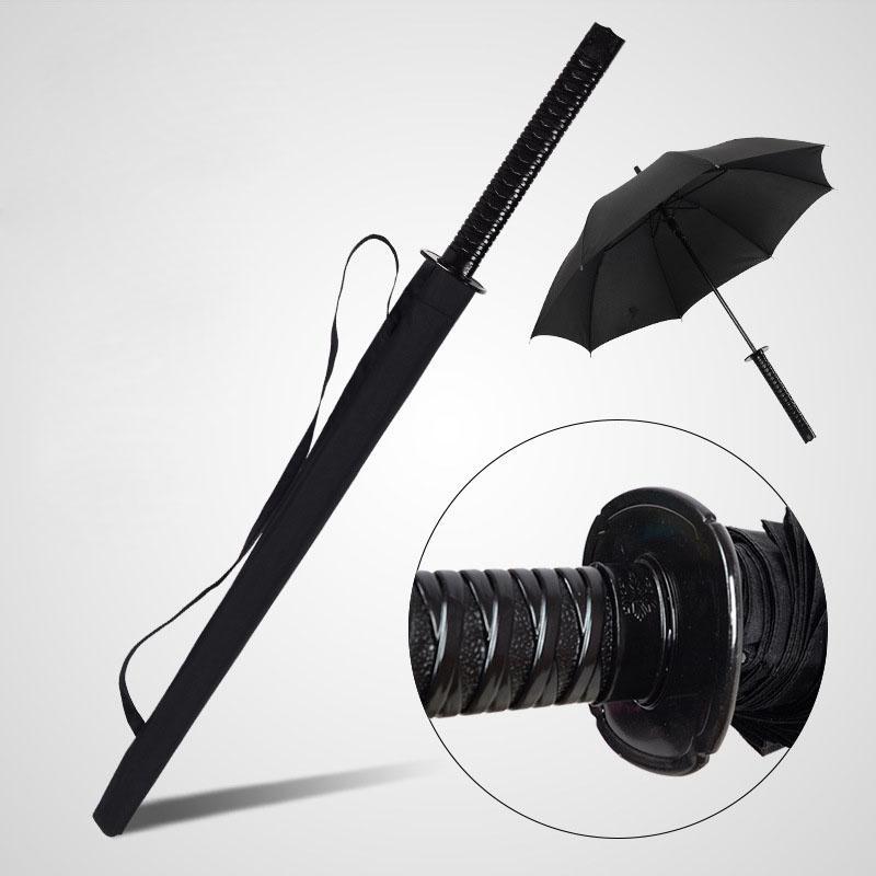 Las espadas samurai japonés Paraguas Paraguas Sunny Rainny largo mango semiautomática 16 costillas Negro Paraguas