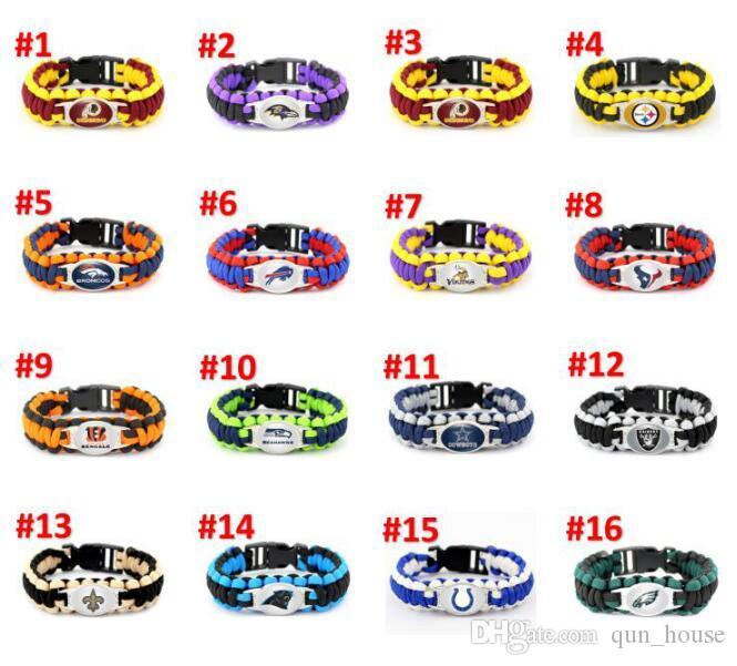 Wholesale Football Jersey bracelet Rugby Bracelet 32Models Cowboys Paracord luxury designer jewelry women bracelets Free Shipping DHL A0208