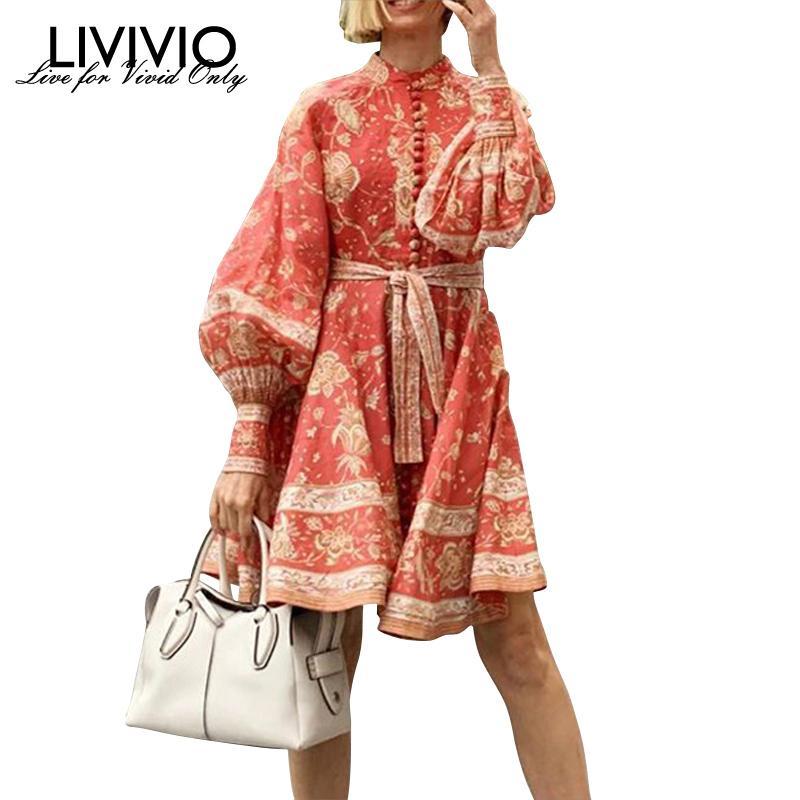 [LIVIVIO] Vintage Floral Print Lantern Long Sleeve Sash Lace Up Waisted Button Down Red Mini Dresses Women 2019 Autumn Fashion Y200120
