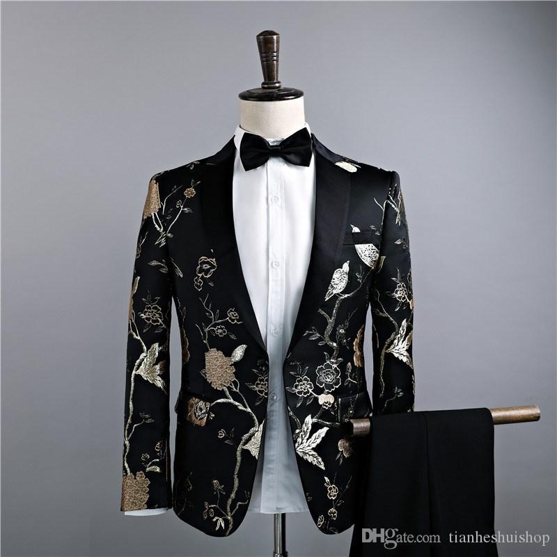 Primavera dos homens terno e Outono nova impressão conjunto terno de duas peças homens (casaco + calças) de forma magro banquete vestido formal dos homens