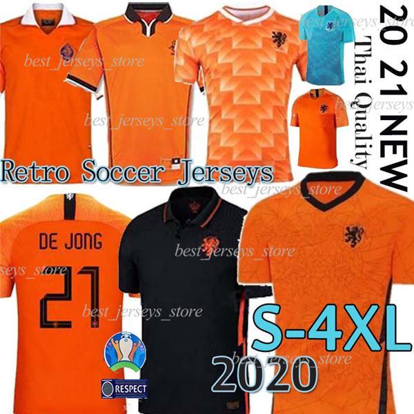 2020 2021 Netherlandssoccer بالقميص DE JONG هولندا مجموعات طفل كرة القدم قميص VAN DIJK فيرجيل camisas دي زي futebol ريترو لكرة القدم الفانيلة