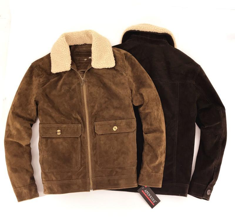 جديد 2019 الأمريكي أوروبا نمط أزياء رجالية الشتاء جلد الخنزير معطف جودة عالية الذكور معطف سترة البني زائد المعتاد