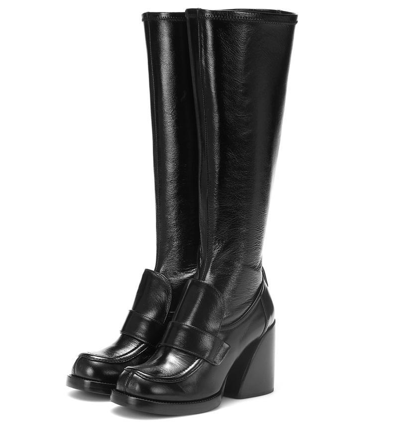 Vente chaude-mode style punk serpent en cuir genou bottes bottes femme marque rouge noir martin bottes automne hiver neige talons hauts
