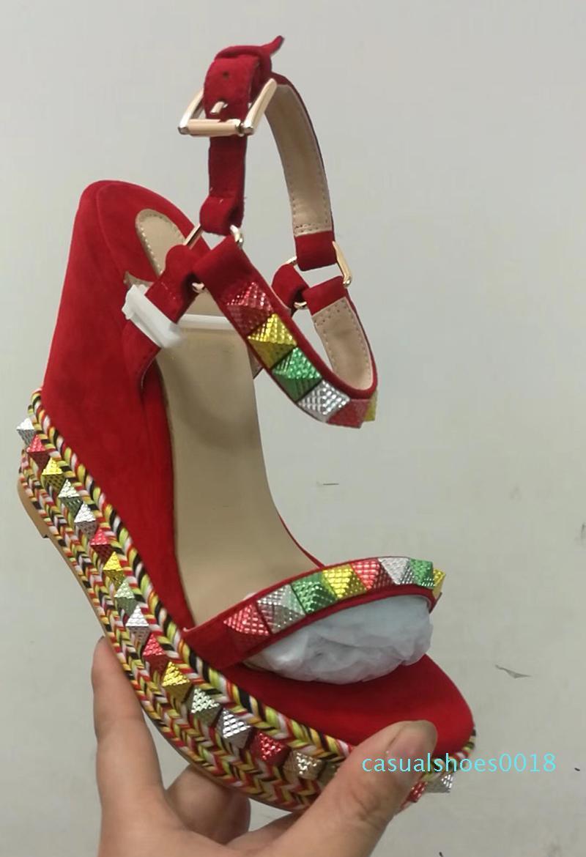 Les concepteurs Red Shoes Bas plate-forme Wedge Sandales Espadrilles haut talon Femmes en cuir recouvert de paillettes d'argent-Summer US4-11 c18