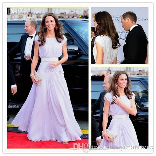 Formal Celebrity Evening Dresses Long Floor Length Short Sleeve Pageant Dress of Kate Middleton Prom Gowns
