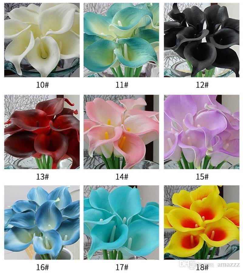 DHL бесплатная доставка 33 цвета PU Калла Лилия искусственный цветок букет настоящее касание партии свадебные украшения поддельные цветы домашнего декора 38 см*6 см