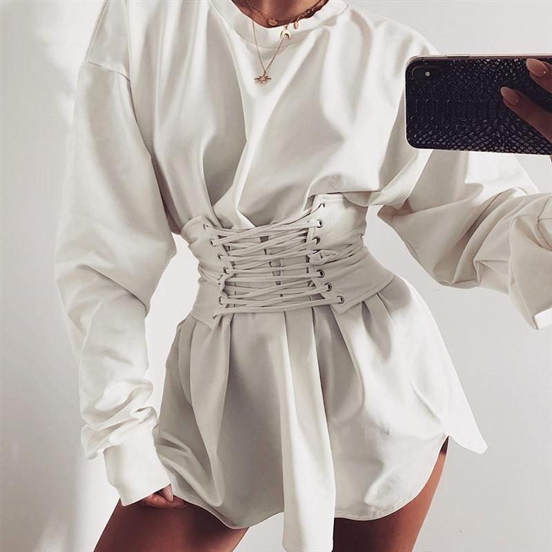 الساخنة تصميم جديد سيدة اللباس الصلبة الخريف كم طويل الرقبة يا زنار فساتين 2019 Elgant الرجال الحزب