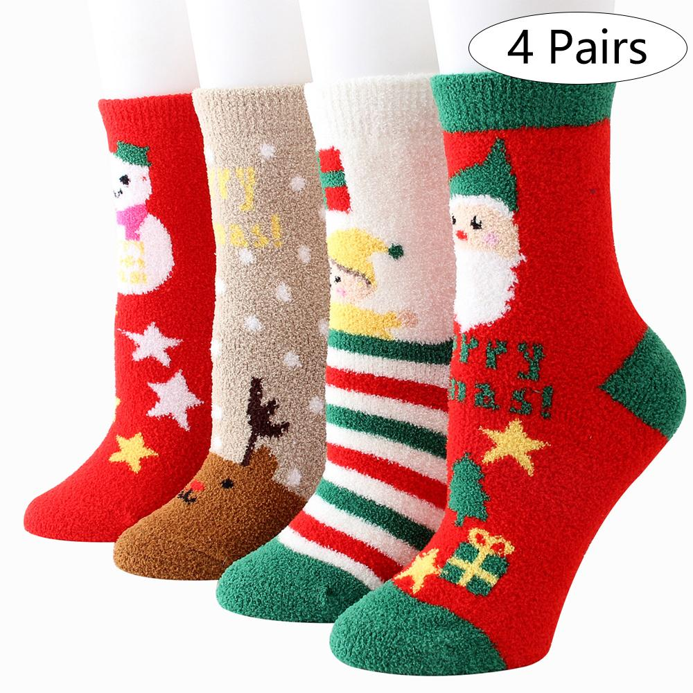 4/8 Pairs Free Size Christmas Coral Fleece Sock Cartoon Socks Gift Indoor For Woman Man Kids Cotton Thickened Christmas Decor