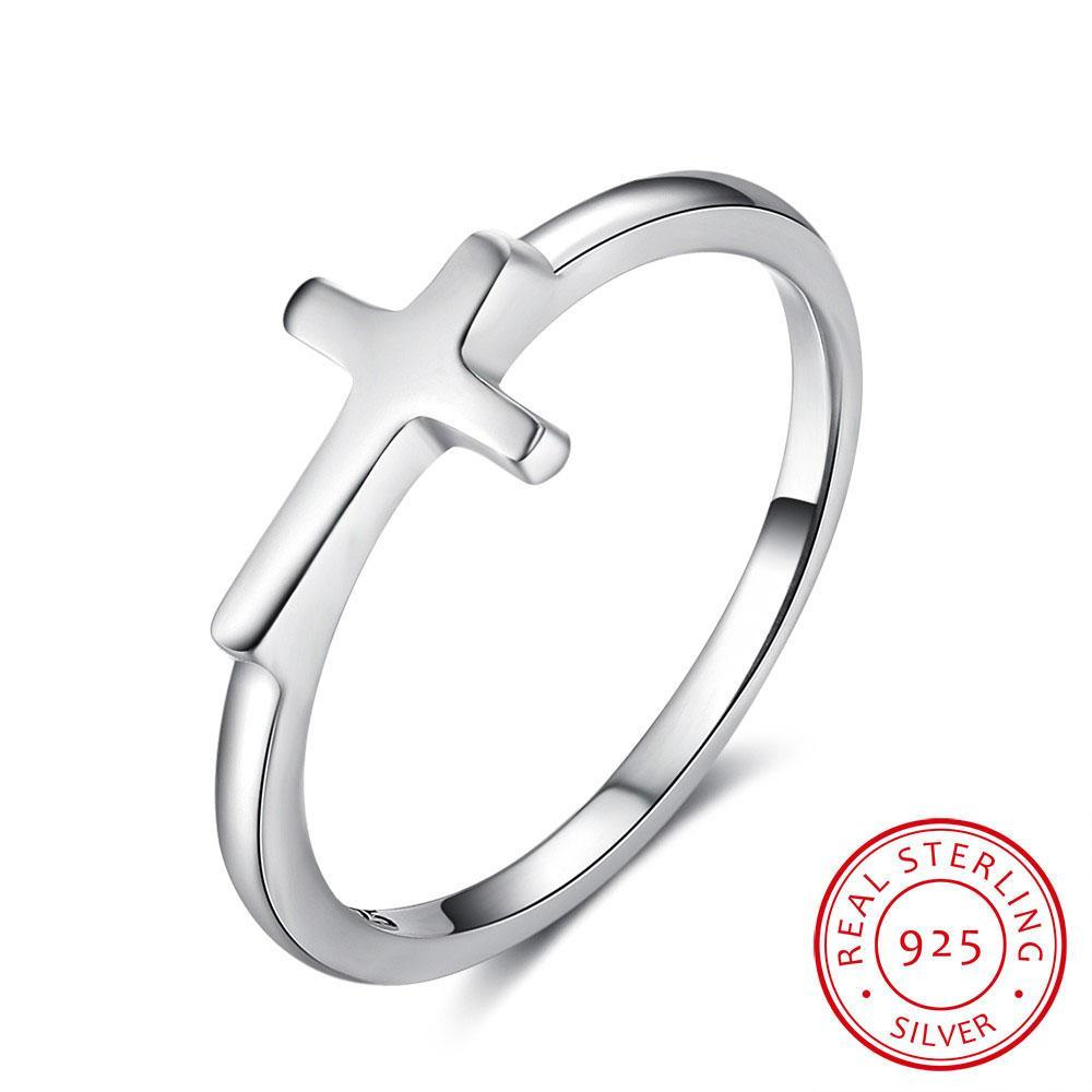 saleSymbol totalidad de la fe Cruz Forma 925 anillos de dedo de plata esterlina para la joyería mujeres mejor regalo para los amigos (RI102897)