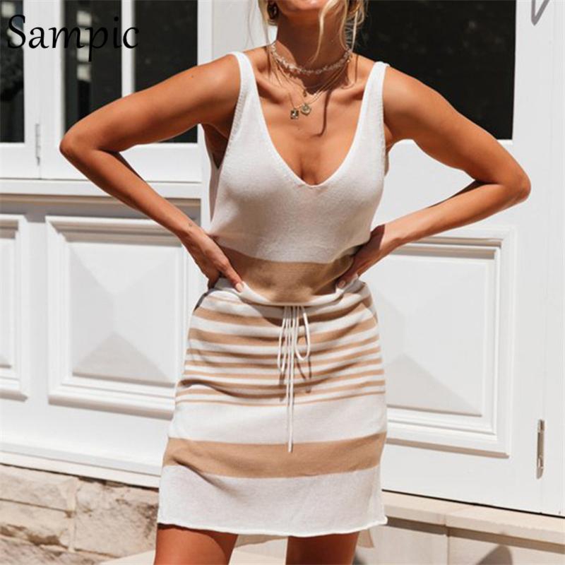 Sampic Summer Strings Sapgete Strab Beach Dress Women Understand Simpeless Mini Deep V Neck Slip Sundress Backless Backless Dress T200318