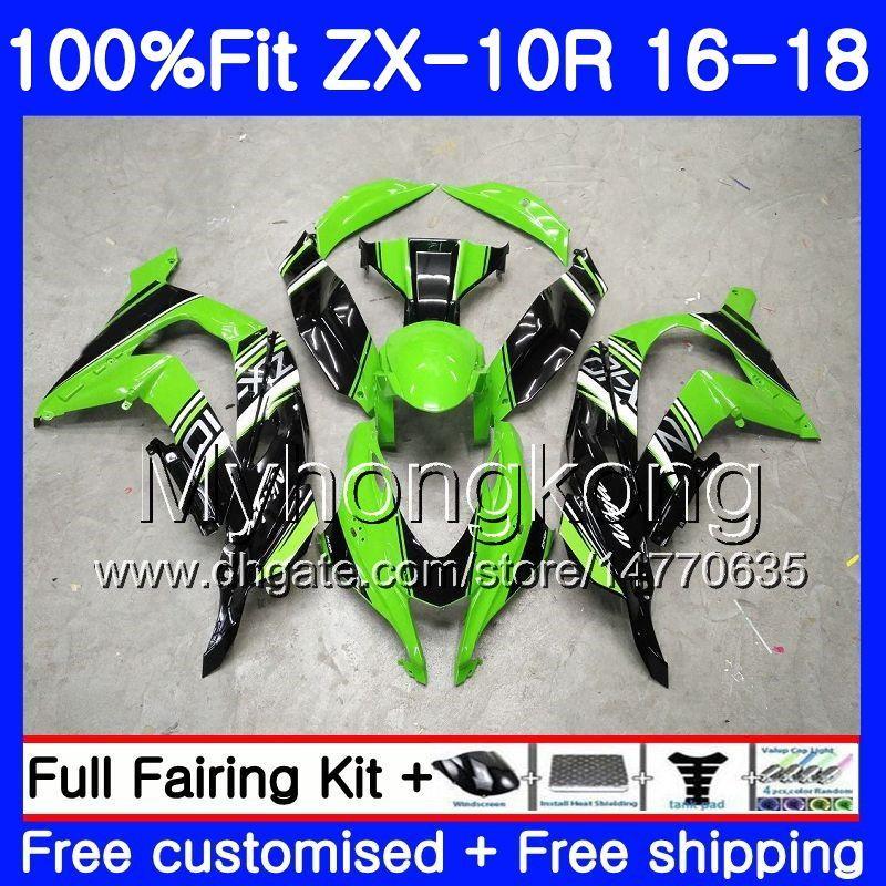 Injektionskropp för Kawasaki ZX 10R ZX1000 ZX-10R 16 17 18 254HM.0 ZX 10 R ZX 1000 ZX10R 2016 2017 2018 Fairings Kit Factory Green Blk