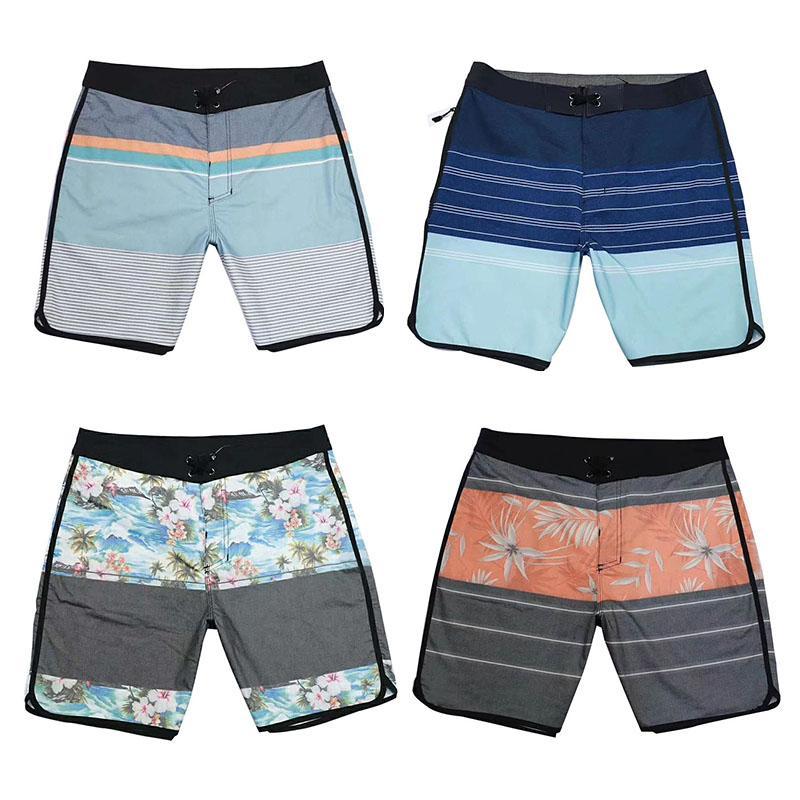 Flor do verão homens Boardshorts Impresso Lace Up Swimwear impermeável Quick Dry Praia Shorts Masculino Surf Swim Shorts Moda Casual solta Shorts